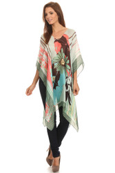 S6021-GR Women's Silk Blend Summer Midi Green Flower Pullover Mantle Poncho  Green
