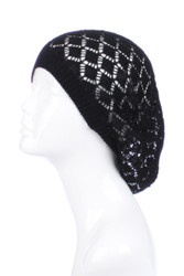H5120 - Lightweight Diamond Knit Beanie Beret Black