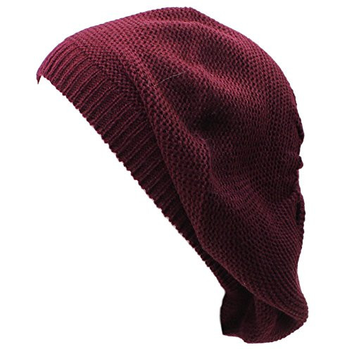 H5117 - Classic Solid Color Lightweight Knit Beanie Beret Burgundy