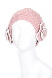 H5247 - Ladies' Double Layer Winter Knit Hat with Two Contrast Trim Flowers Pink