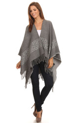 S6203 - Women's Winter Animal Border Open Poncho Ruana with Fringe - Gray
