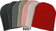 8007H Basic Ribbed Solid Color Skull Cap Ski Hat