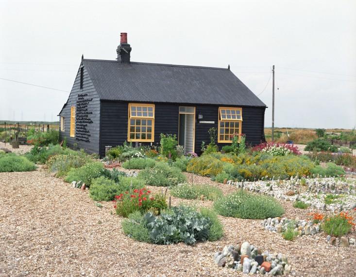 Black garden shed.