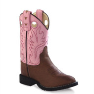 Old West Kids Distressed Brown and Pink Western Boots