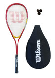 Wilson Hyper Team Red 300 Squash Racket + 3 Squash Balls