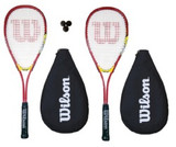 2 x Wilson Hyper Team 300 Squash Racket Set with 3 Squash Balls