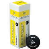 3 Dunlop Pro Double Yellow Dot Squash Balls