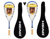2 x Head Microgel Power Laser Squash Rackets + 3 Squash Balls
