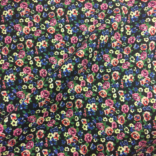 Ditsy Rose Stretch Cotton in Black