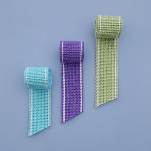 Cotton blend webbing in ocean colours
