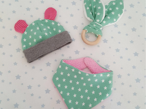 Baby Bundle - Little Hat, Bib & Bunny Ear Teether