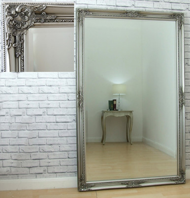 Leon Extra Large Vintage Full Length Wall Leaner Mirror Silver 40\