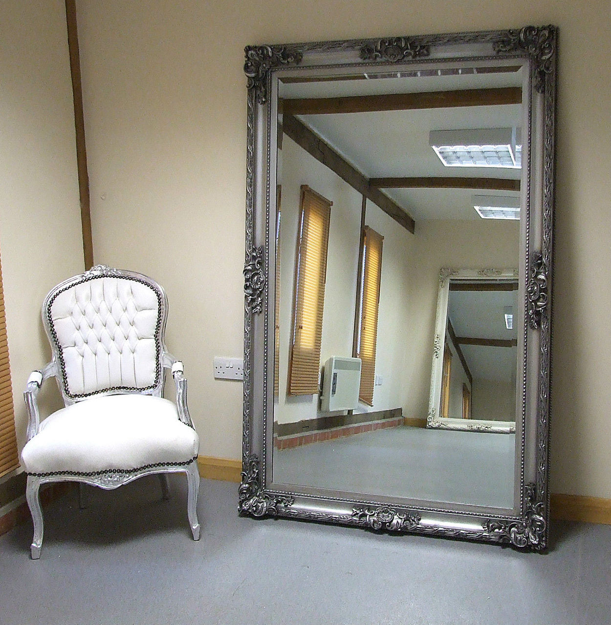 Paris shabby chic extra large wall leaner full length for Big full length wall mirror
