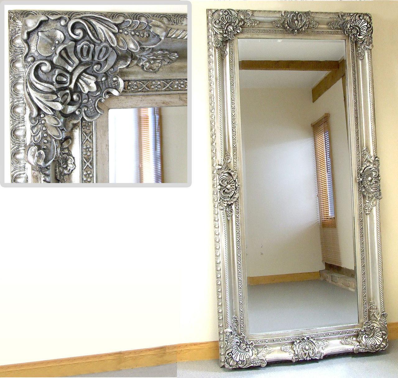 Seville large shabby chic vinatge full length wall leaner for Big full length wall mirror