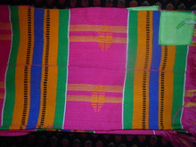 Kente Cloth Tallit - Pink Background - 4 strip
