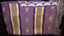 Kente Cloth Tallit - Pale Yellow with Purple 4-strip