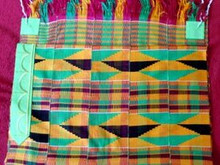 Kente Cloth Tallit Gold, Black, Green and Pink -  5-strip