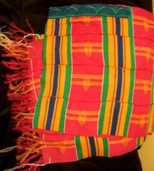 Kente Cloth Tallit - Pink with Multi-color 5-strip