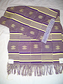 Purple with Yellow 5-Strip Kente Cloth Tallit