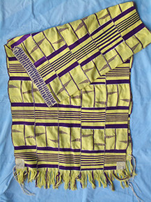 Yellow with Purple 4-Strip Kente Cloth Tallit