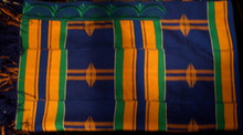 Kente Cloth Tallit - Blue with Multi-color 6-strip