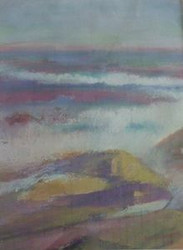 """MADLYN-ANN C. WOOLWICH PASTEL""""MAINE SHORES"""" LISTED ARTIST EXHIBIT LABEL"""