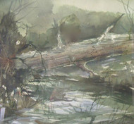 "MADLYN-ANN C. WOOLWICH WC"" STREAM WITH FALLEN LOG "" CUSTOM FRAME LISTED ARTIST"