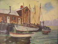 "W. GRIFFIN ""MOTIF & BOATS DOCKSIDE"" OIL PAINTING SIGNED FRAMED"