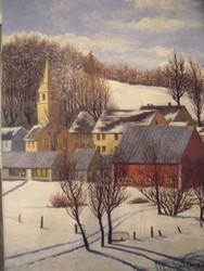 "LUIS CHAVEZ ""VILLAGE IN SNOW"" OIL PAINTING ON LINEN 1970 GORGEOUS"