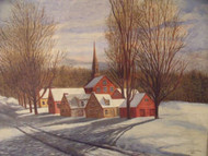 "LUIS CHAVEZ ""CHURCH SQUARE IN WINTER"" OIL ON LINEN 1971 GORGEOUS"