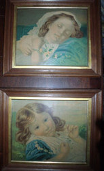 PAIR OLD WALNUT DEEP FRAME  WITH GOLD INSET WITH YOUNG GIRL PRINTS CA 1900