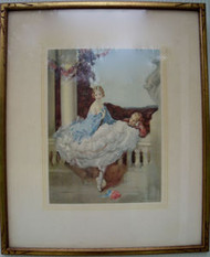 LOVELY OLD GOLD OVAL FRAME CA 1890-1900 WITH GLASS AND OLD PRINT