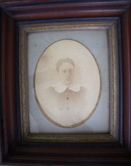 OLD WALNUT DEEP FRAME CIRCA 1880 WITH GOLD INSET OLD GLASS W/ PICTURE OF LADY