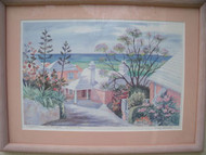 """POMPANO"" SOUTHAMPTON BERMUDA 1987 MARY POWELL PRINT PENCIL SIGNED CUSTOM FRAME"