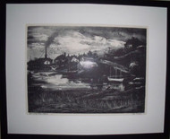 "SYD BROWN AMERICAN (1907-1991) ""APPROACHING STORM EASTPORT"" LITHO CUSTOM FRAMED"