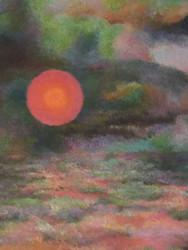 "GRACE WOOD HERRING: ""Cloud Color Sun"" AMER CA 1950-60 Oil Painting Framed"