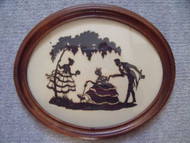 OLD WALNUT OVAL FRAME WITH SILHOUETTE CA 1900 LOVELY