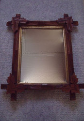 OLD CROSSHATCH FRAME WITH MIRROR CA 1900 WITH GOLD INSET VERY GOOD CONDITION