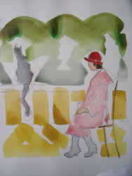 "RICHARD AHR 1929-2012 NEW YORK CITY "" WOMAN IN RED & CAT""  WATERCOLOR"
