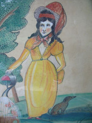 """ANTONIO ROMANO """"LADY IN YELLOW WITH DOG"""" LISTED ARTIST WATERCOLOR OLD FRAME"""