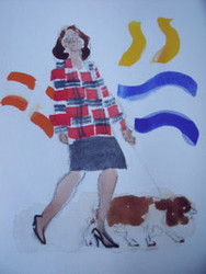 "RICHARD AHR 1929-2012 NEW YORK CITY "" LADY WALKING DOG W\ATTITUDE""  WATERCOLOR"