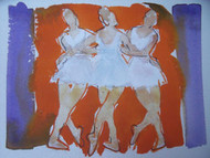 "RICHARD AHR 1929-2012 NEW YORK CITY "" BALLERINAS""  WATERCOLOR"