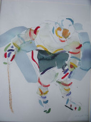"RICHARD AHR 1929-2012 NEW YORK CITY ""HOCKEY PLAYER""  WATERCOLOR"