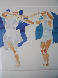 "RICHARD AHR 1929-2012 NEW YORK CITY ""TWO DANCERS""  WATERCOLOR"