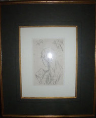 "PIERRE BONET""JEUNE FILLE LISANT"" ETCHING FRENCH MAT CUSTOM FRAME SIGNED IN PLATE"
