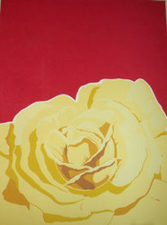 "BRIAN COOK SERIGRAPH PRINT ""YELLOW ROSES ON RED""  PENCIL SIGNED COOK AP 1981"
