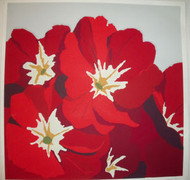 "BRIAN COOK SERIGRAPH PRINT ""DEEP RED PETUNIAS ON GREY""  PENCIL SIGNED AP 1981"