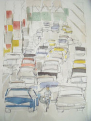 "RICHARD AHR 1929-2012 NEW YORK CITY ""BICYCLE""  WATERCOLOR SIGNED"
