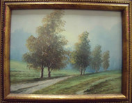 "GORGEOUS PAIR LANDSCAPES ""BY THE RIVER"" & ""SHADY LANE"" GOLD CUSTOM FRAMES"