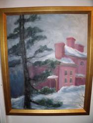 "META GRIMM LACEY(1888 - 1976)  ""MANSION &SNOW"" GOLD CUSTOM FRAME MID CENTURY"